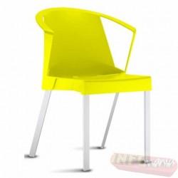 Cadeira Shine Frisokar amarela com braço