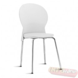 Cadeira Luna Frisokar cromada polipropileno branco