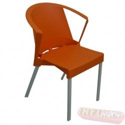 Cadeira Shine Frisokar laranja com braço