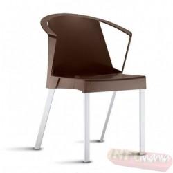 Cadeira Shine Frisokar marrom com braço