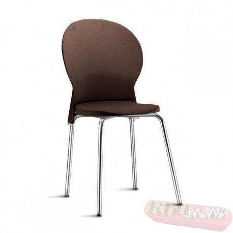 Cadeira Luna Frisokar cromada polipropileno marrom