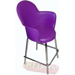 Banqueta Gogo cromada púrpura média