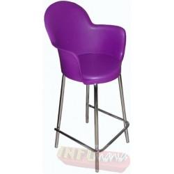 Banqueta Gogo cromada púrpura alta
